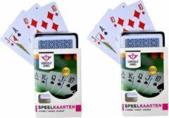 Longfield 4x Speelkaarten plastic poker/bridge/kaartspel in bewaar box - Kaartspellen - Speelkaarten - Pesten/pokeren