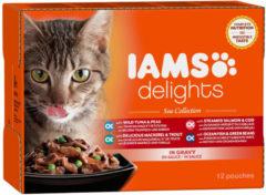 Iams cat delights multipack sea collection kattenvoer 12x85 gr