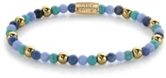 Rebel & Rose Rebel and Rose RR-40055-G Rekarmband Beads Winter Blues blauw-turquoise-goudkleurig 4 mm M 17,5 cm