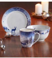 3tlg. Frühstücksset 'Reh und Hirsch' Casamaxx blau/grau/weiß