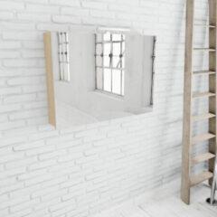 Zaro Beam licht eiken spiegelkast 100x70x16cm 2 deuren
