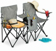 Relaxdays dubbele campingstoel - strandstoel duo - kampeerstoel - regiestoel - klapstoel grijs