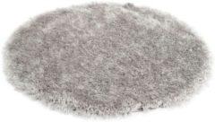 Antraciet-grijze Merinos Hoogpolig Vloerkleed Met Glittergaren Grijs-Ø 120 cm