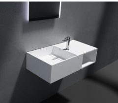 Witte Cross Tone Solid surface standaard wastafel B80xD40xH20cm rechthoek zonder waste wit mat CTS-2037