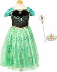 Het Betere Merk Frozen Anna jurk - Anna kleed - groene prinsessenjurk maat 98/104 (labelmaat 110) + Gratis - Kroon - Toverstaf - Verkleedkleding Kind - Verkleedjurk