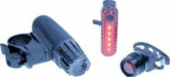 Zwarte Gift House Oplaadbare LED fietsverlichtingsset met LED koplamp en achterlicht, spatwaterdicht. Geschikt voor racefietsen