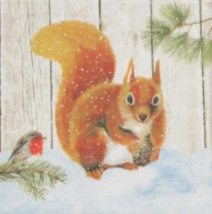 Ppd Servetten Robin & Squirrel 33 x 33 cm