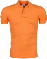 VDHT trendy effen heren polo ongetailleerd - oranje