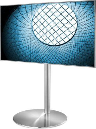 Afbeelding van Roestvrijstalen Cavus Design TV Vloerstandaard geschikt voor 32 – 55 Inch Tv's –TV Voet Rond RVS – 100 cm Kolom RVS – VESA TV Standaard