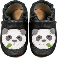 Hobea Babyslofjes zwart met panda (Kruip)