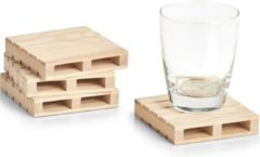 Beige 8x Luxe houten glazenonderzetters pallet vorm 10 x 10 cm - Zeller - Keukenbenodigdheden - Tafeldecoratie - Glas/beker onderzetters van hout