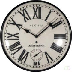 NeXtime Amsterdam Dome - klok - Rond - Metaal en Gebold Glas - Stil uurwerk - Ø 30 cm - Zwart