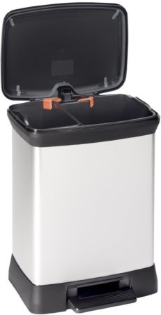 Afbeelding van Zilveren Curver Duo Decobin pedaalemmer 10 + 18 liter zilver metallic / zwart in full color box