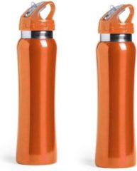Bellatio Design Set van 2x stuks drinkfles/waterfles 800 ml oranje van RVS - Sport bidon