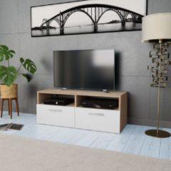 Bruine VidaXL Tv-meubel 95x35x36 cm spaanplaat eikenkleurig en wit