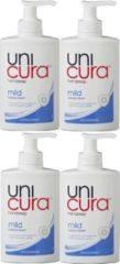 Unicura Vloeibare Handzeep Pomp Mild - 4 x 250 ml Voordeelverpakking