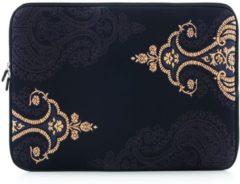 Merkloos / Sans marque Laptop sleeve tot 15.4 inch met Paisley print – Antraciet/Zwart/Lichtgeel