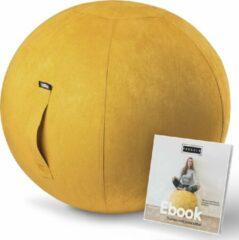 Fruscle® Ergonomische Bureaustoel Zitbal 75 cm Geel| Suède | Bureaubal| Luxe Yogabal | Kantoor Zitbal