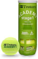 Tretorn ACADEMY groen - Tennisballen - Stage 1 - 3 stuks - Geel