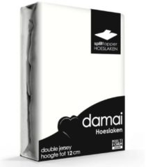 Creme witte Damai Multiform Double Jersey Splittopper Ivoor-180 x 200/210 cm