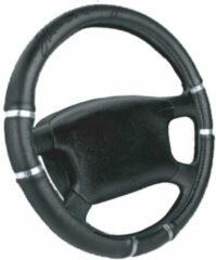 Universeel Simoni Racing Stuurwielhoes Chrome&Black - 37-39cm - Zwart Eco-Leder