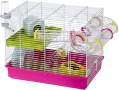Ferplast Hamsterkooi Laura - Dierenverblijf - 46x29.5x37.5 cm Roze