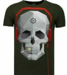 Local Fanatic Skull Bring The Beat - Rhinestone T-shirt - Groen Skull Bring The Beat - Rhinestone T-shirt - Wit Heren T-shirt Maat XL