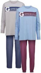Schlafanzüge Gregory 1x blau/bordeaux, 1x grau/marine