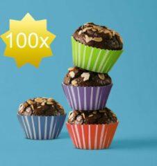 Family Pound Muffin Bakvorm Papier - 100 Stuks - 4 Verschillende Designs - Cupcake Vormpjes - Muffin papiertjes
