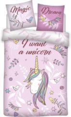Unicorn Dekbedovertrek Magic Dream - Eenpersoons - 140 x 200 cm - Roze