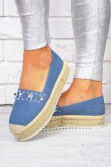 Blue Alx Trend Espadrillas in jeans con borchie Babila Blu Chiaro