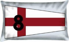 Rode Velits outdoor Bootkussen seinvlag nr. 8 waterafstotend 40x60cm.
