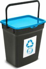 Plast Team Kunststof afvalbak met deksel 10L Afvalscheidingssysteem Recycling Prullenbak Afvalopvangbak - Blauw