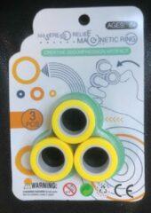 Merkloos / Sans marque Magnetic finger trick rings - Magnetische vinger Ringen -Geel