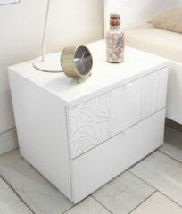 Pesaro Mobilia Nachtkastje Perez 42 cm hoog in mat wit met hoogglans wit