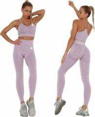 Peachy® Sportlegging en Top - Yoga - Fitness set - Scrunch Butt - Dames Legging - Sportkleding - Fashion legging - Broeken - Gym Sports - Legging Fitness Wear - Lichtpaars - maat L - High Waist - Valt klein
