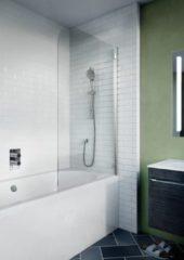 Crosswater Kai badwand 70x138cm 1 wand 6mm helder veiligheidsglas draaibaar aluminium zilver KLBSSC0650