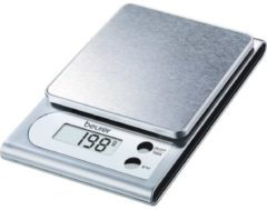 Beurer 704.10 Mini-Küchenwaage KS 22 LCD, Edelstahl-Fläche, 11,5 x 2,7 x 17 cm, silber (1 Stück)