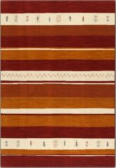 OSTA Eldorado – Vloerkleed – Tapijt – geweven – wol – eco – duurzaam - modern - boho - Geel Rood Streep - 160x230