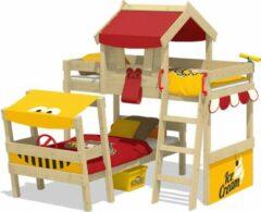 WICKEY Kinderbed, Stapelbed Wickey CrAzY Trunky met rood/geel dekzeil, Houten bed 90 x 200 cm
