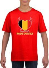 Shoppartners Rood Belgie rode duivels hart supporter shirt kinderen - Belgisch shirt jongens en meisjes M (134-140)