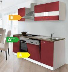 Respekta kitchen economy Respekta Küchenzeile KB220WR 220 cm Weiß - Rot