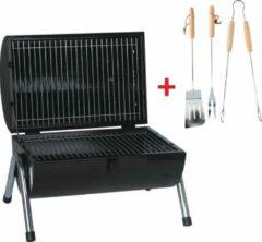 Zwarte MaxxGarden tafel barbecue - dubbel grill vlak - 38x52cm