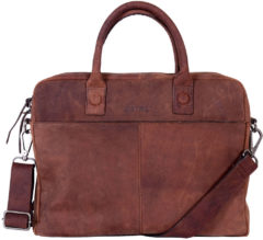 Bruine DSTRCT Wall Street Leren Business Laptoptas 15,4 inch Brown