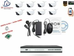 Witte Home-Locking camerasysteem met bewegingsdetectie en NVR 2.0MP H265 POE en 8 buitencamera's 2.0MP CS-8-1410D