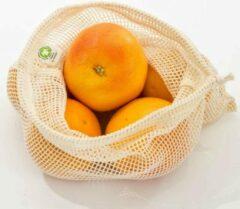 Creme witte Natuurlijkerleven Fruit & Groente Netje 100% Katoen - Medium (Bio)