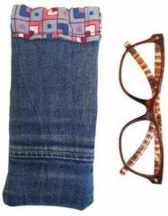 Toetie & Zo Handgemaakte Brillenkoker Jeans - Denim - Spijkerstof - Blauw - Knijpsluiting - Brillenetui - Brillentas - Snappouch