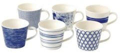 Blauwe Royal Doulton Pacific Mok 450 ml - Set van 6