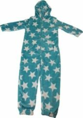 Lichtblauwe Merkloos / Sans marque Onesie / Pyjama / Pyjamapak met Sterretjes - Blauw - Polyester - Maat 98 / 104 - Unisex