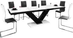 Hubertus Meble Uitschuifbare Eettafel Victoria 160cm tot 256cm - Hoogglans Wit met Zwart